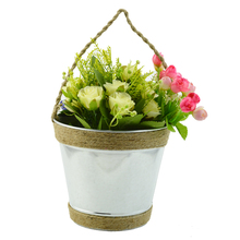 metal hanging flower bucket/hanging planters with rope for garden and home decor