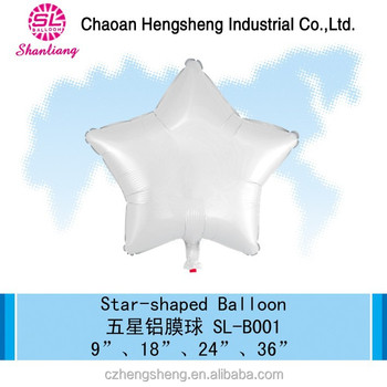 Star-shaped helium foil party balloons