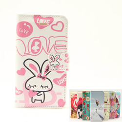 Pink rabbit credit card slot pu leather case for iphone 4 4s