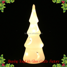 White glass led light christmas tree with moon decoration