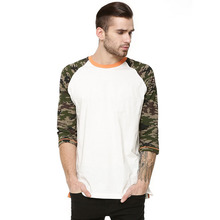 New arrival camo raglan sleeve t shirts in bulk sublimation 100% polyester t shirts
