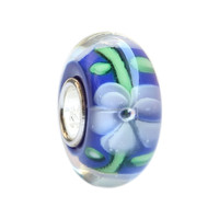 Wholesale Blue Hawaiian Delight Flower Murano Glass Bead with 925 Sterling Silver Tube