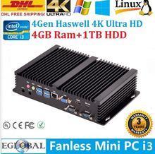 Hot Mini PC Intel Core I3 4010U Intel HD 4400 Graphics barebone system HDD Fanless Gaming Desktops 300 WIFI