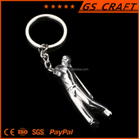 custom man shape blank plain metal keychain,metal key ring