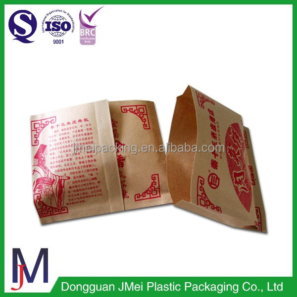 wholesale fast food plastic lined kraft paper side gusset bag