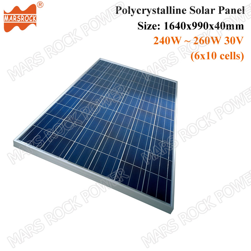 240W to 260W 30V 60cells Polycrystalline Solar Panel in 1640x990x40mm for Grid Tie or Off Grid Solar Power System