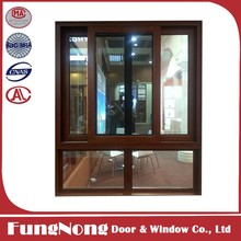 Wooden Grain Finishing Aluminium Vertical Sliding Window Fan