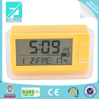 Fupu radio control digital round wall clock digital lcd calendar alarm clock