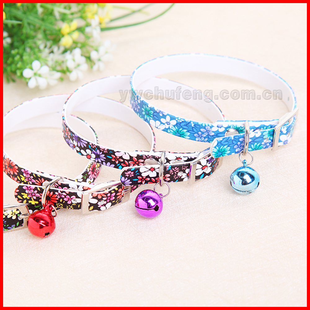 Beautiful color Hot sell small flowers with bell on PU pet dog collar