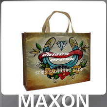 Popular laminated logo shopping tote bags made in China