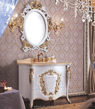 Luxury Antique Victorian White and Gold Leaf Bathroom Vanity,Royal Decorative Accent Single Basin Bathroom Vanity WTS341