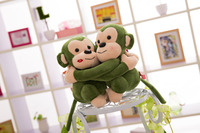 25/35/45cm romantic New design customized plush embracing monkey animal doll toy with long arms&legs(green)