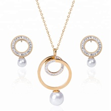 Stainless steel pearl jewelry set for women