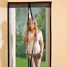Polyester Black Decorative Magnetic Mosquito Net Fly Screen Door Window Curtain