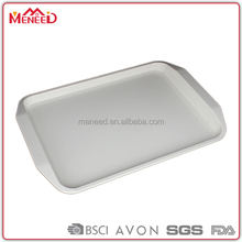 "13.5"" Handled white color hotel beverage serving rectangular melamine tray"