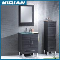 Plywood Veneer Melamine Vanity Cabinet Set Flat Packing Ceramic Washing Basin Cabinet Freestanding Melamine Bathroom Cabinet