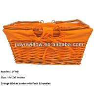 Orange wicker baskets for two person picnic