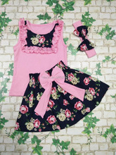 New summer flower print dress bowknot pink vest coat girl dress high quality goods clothing