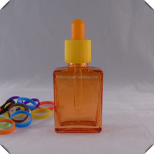 30ml orange flat square glass dropper bottle pill with glass pipette wholesale free samples