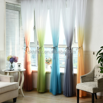 printed window treatments American living room sheer curtain voile curtain