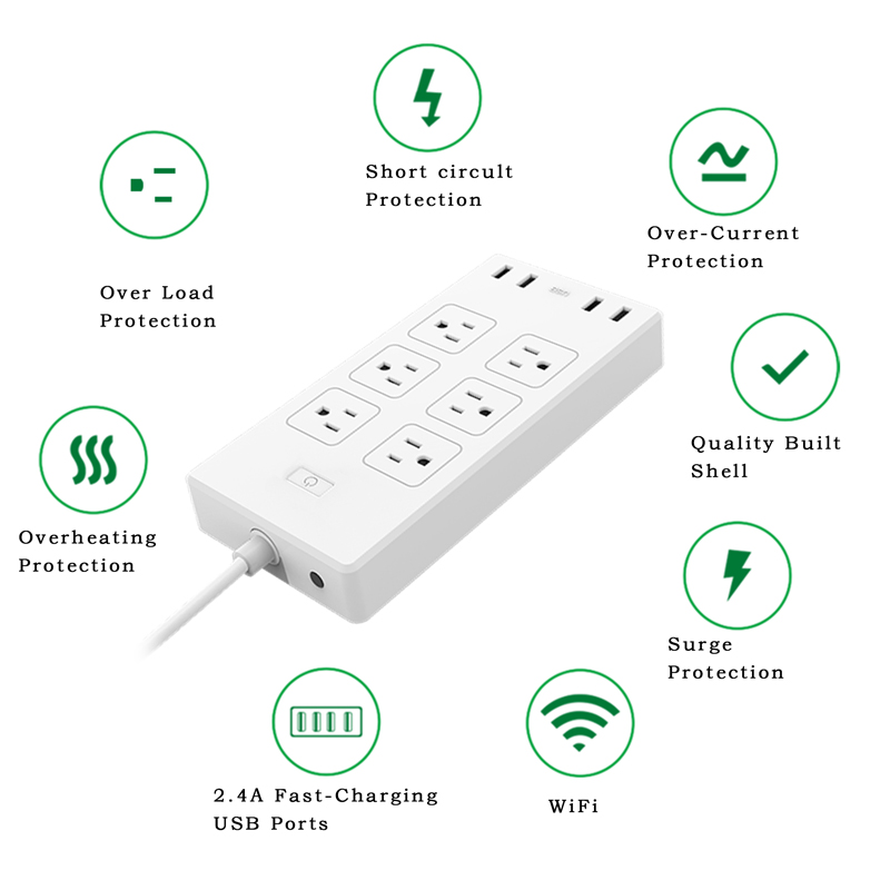 WiFi Smart Power Strip Surge Protector 6 AC Outlets 4 USB Ports Separate Switch Control Work with Alexa and Google Home