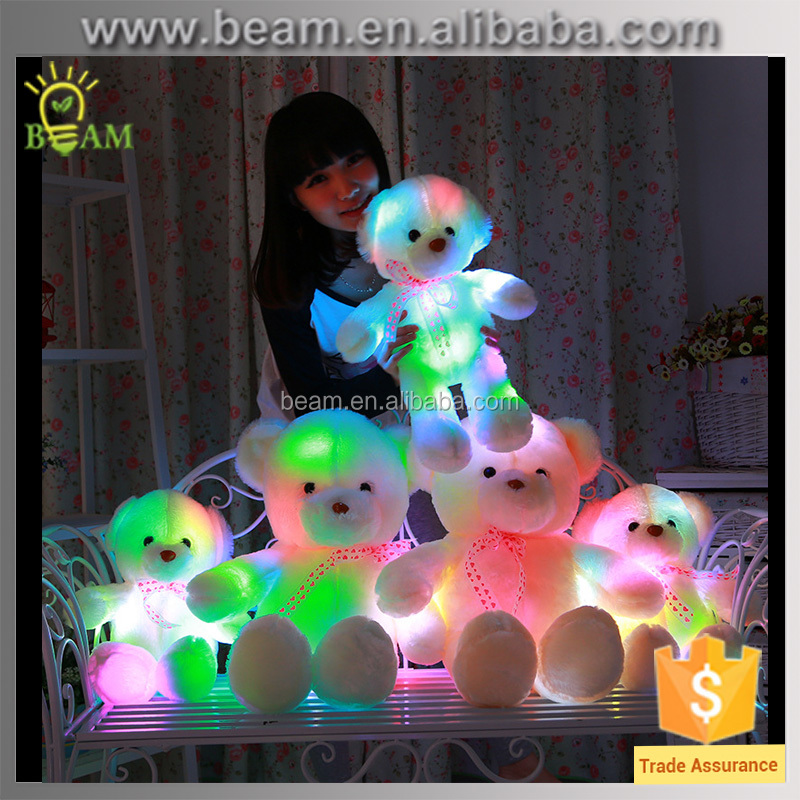 creative light LED cheap 35cm plush Teddy bear ,stuffed animal plush toy for kid