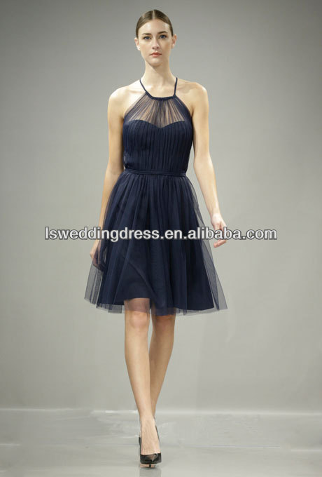 HC2315 Specifical halter round neck sheer top gathered top knee length short zipper back A-line sexy black tulle cocktail dress