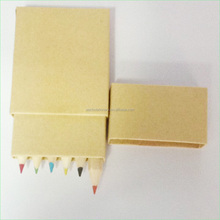 6PCS Half Size Natural Color Pencil Set In Recycled Cardboard Box With Lid