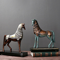 Highly simulated Roman war horse statue for book cabinet