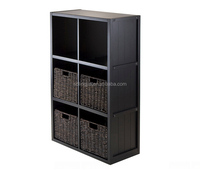 Black Wooden Space Saving Luxury Living Room Rattan Home Furniture