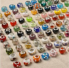 50pcs/pack 417 loely glass bead wholesale handmade murano lampwork glass european beads fit for charm bracelets