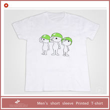 men's dry fit o-neck plain white t-shirt with cartoon priting