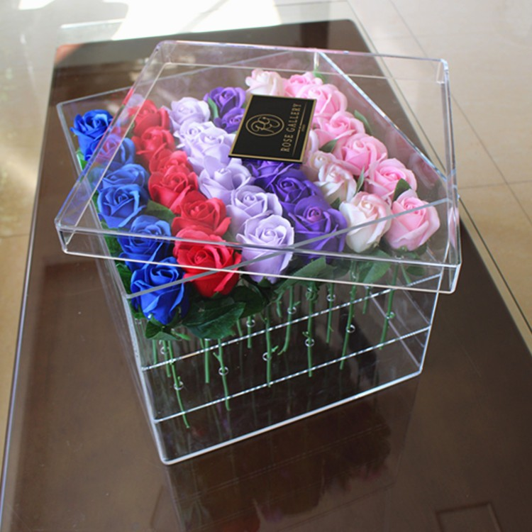 Transparent Acrylic Flower Box For 9 Roses Display