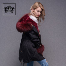 Fashionable Design Women Jacket Winter Red Fur Collar Parka Women Real Fur Coat For Lady