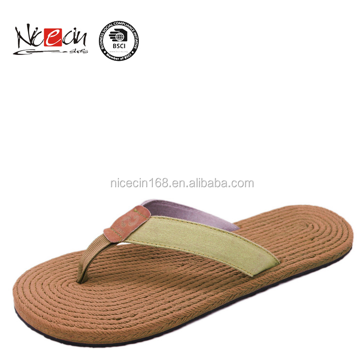 Solid fashion comfortable beach flip flop straw