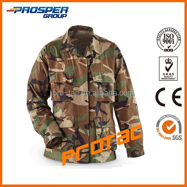 Rip stop woodland camouflage military battle dress uniform (BDU)