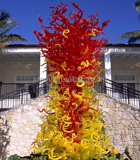 Hand blown art murano large modern glass tall floor sculpture factory in china