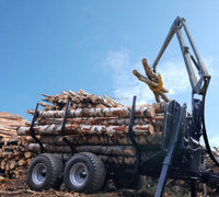 forest equipment tractor PTO hydraulic timber loading traile log trailer , wood trailer, log wagon with crane grapple