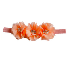 Triple Chiffon Flower Baby Girl Headbands and Bows,Elastic Headband
