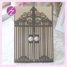 Wholesale newest Promotional European pearl paper Laser Cut printed Wedding Invitation Cards door design with two unique beads