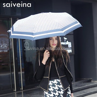 SAIVEINA new design auto open close 21 inch 8k 3 fold houndstooth umbrellas use classics tweed patern