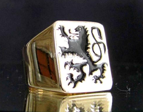 wholesale unique custom signet ring for men gold plated