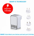 4 Port Fast Charger with US UK EU KC AU CELLULAR PHONE WALL CHARGER