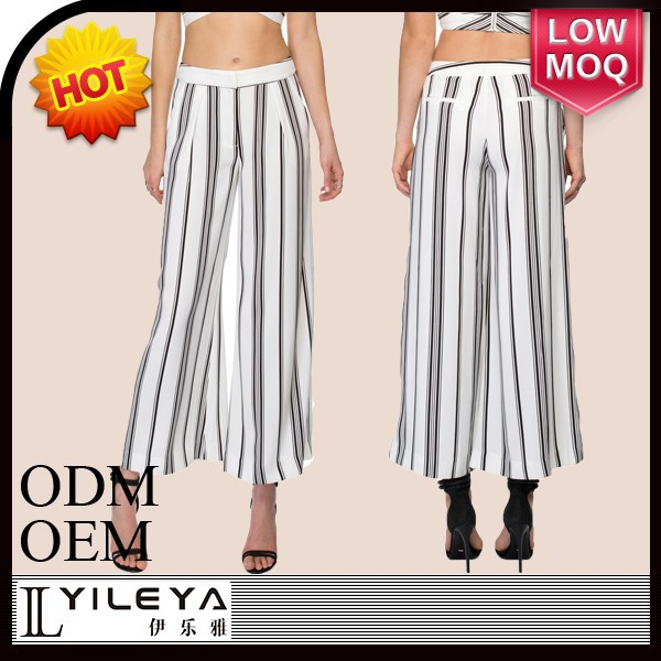 latest spring summer elegant striped women palazzo pants ladies wide leg palazzo