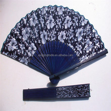 Classical flower design Chinese style blue fabric hand fan with dyed blue bamboo frame Wedding Party Favor