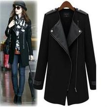 2014 Fashion Autumn Winter New Trench Women Round Collar Zipper Pocket Wide Waisted Coat Faux Feather Patchwork Long Trench Lady