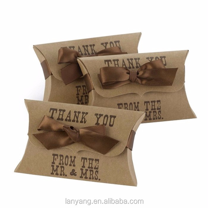 Kraft Pillow Boxes with Thank You Wedding, Engagement Anniversary Party Favor Boxes