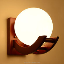 Antique Frosted glass Sconce solid Oak Modern wooden Wall Lamp Bracket Light For Bedroom Home Lighting