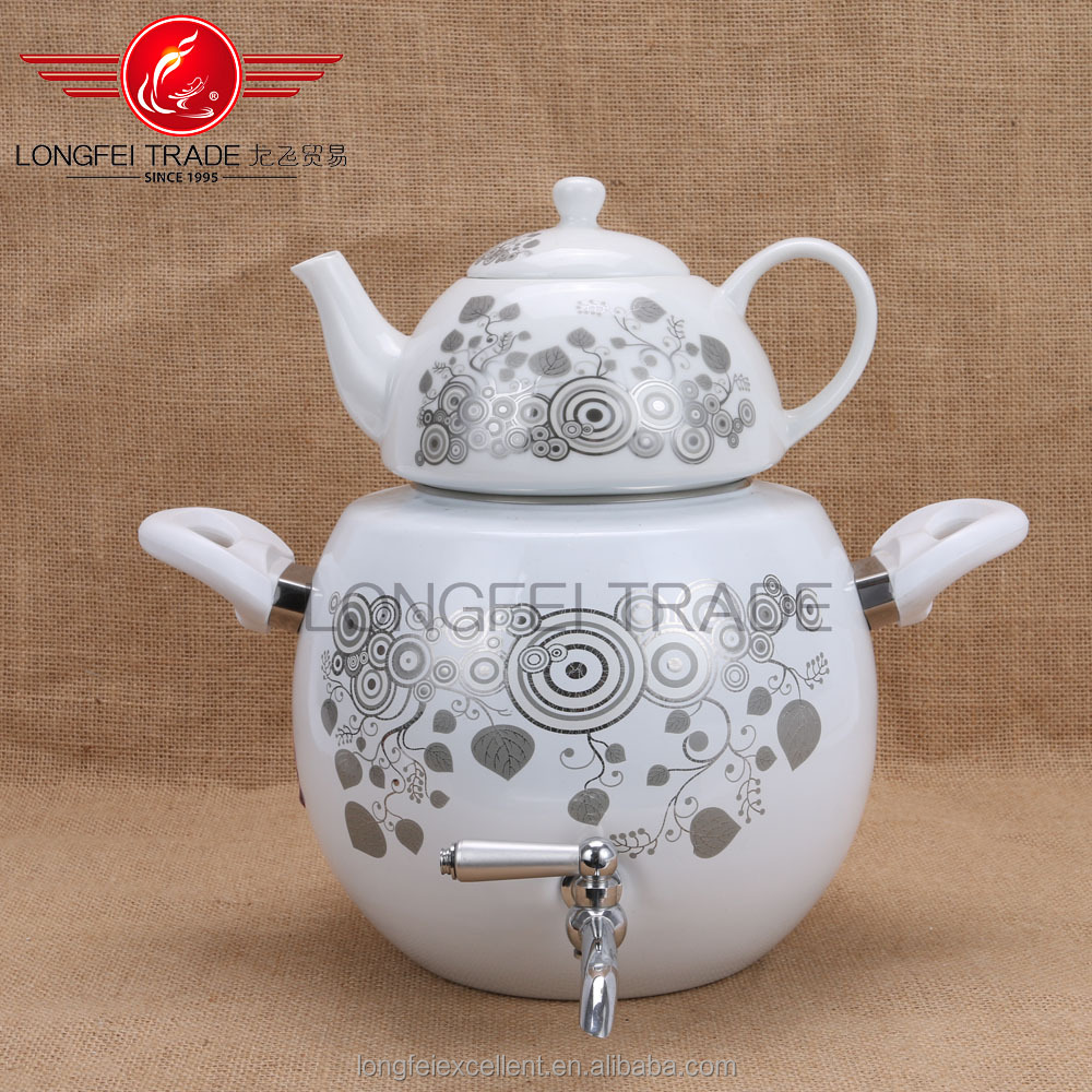 020621ceramic popular white ceramic enamel kettle/enamel water tea kettle/enamel camping kettle