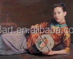 Classical beauty of a fan people oil painting